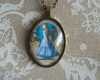 Alice in Wonderland  antique bronze necklace