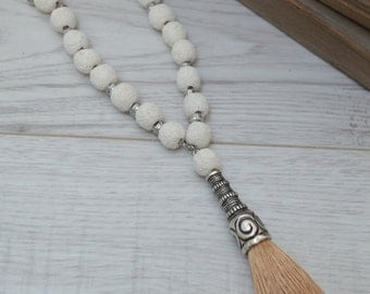 WHITE LAVA beaded necklace, Antique silver Greek Spiral Necklace, Boho Chic Ethnic Tribal Ibiza style jewelry, Free People Inspired necklace