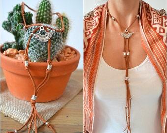 Long suede leather choker necklace, Tassel Necklace, Tuareg Crescent Charm necklace, Bohemian Boho Suede Choker, Tie Up Bolo Wrap Necklace