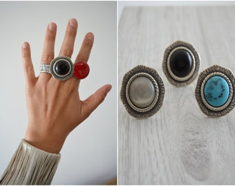 Black onyx stone midi ring, Silver Plated Zamak Gemstone Cabochon Ring, Bohemian Gypsy Free People style ring, US Women Ring Size 7inch-18cm