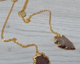 Arrowhead necklace, 24k gold plated jasper arrowhead, gold quartz necklace, raw natural stone, gemstone jewelry, fashion jewelry necklace