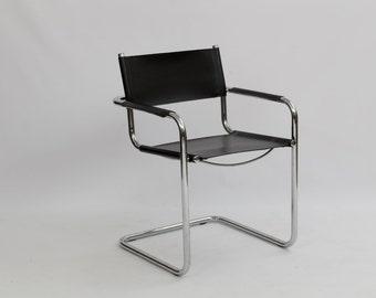 Vintage Mid Century Marcel Breuer Leather & Chrome Arm Chair / Bohemain Modern / Modern