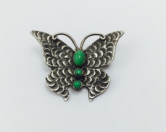 Discounted Butterfly Pendant Pin, Lee Charley Jr Signed, Turquoise, Silver, with Chain