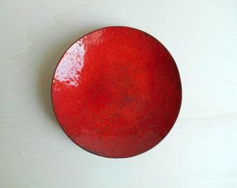 vintage red enamel pin dish / Germany / 1960s