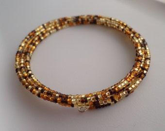 Seed bead memory wire wrap bracelet