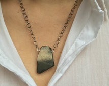Money Attracting Pyrite Necklace / pyrite slice / money magnet / feng shui jewelry / simple metallic jewelry / 6th year anniversary