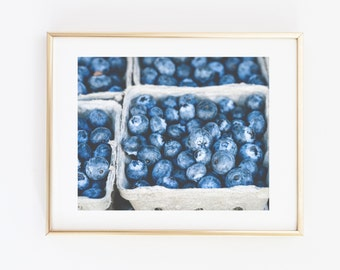 Food Photography, Blue Berries, Kitchen Wall Art, Fine Art Photography, Fine Art Photograph, Blueberry Photo Summer Fruit, Kitchen Art Print