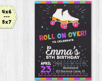 Roller skating invitation - Roller skating birthday invitation - Roller skating chalkboard invitation - Girls invitation