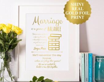 Jenga Wedding Sign, Gold Foil Custom Wedding Print, Jenga Guest Book Sign, Wedding Guest Book Alternative, Sign A Jenga Piece Print 8x10 5X7