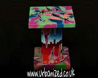 "Graffiti Wood Side Table Urban Style ""Old School"" Range"