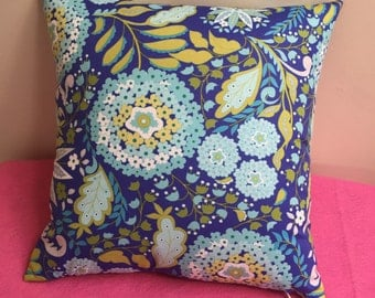 Decorative pillow, Blue, Green and Teal, floral print accent pillow, handmade, 16x16, invisible zipper closure