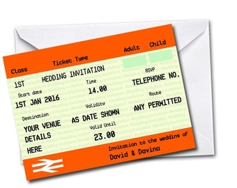Gardia Design Pack of 20 Personalised Train Ticket Themed Wedding Invitations