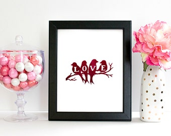 8x10 Digital Art Print. Red Lovebirds Print