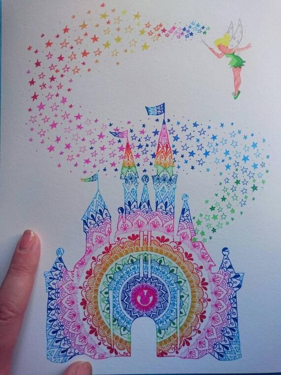 Ch 226 Teau Disney Mandala Imprimer 10 X 8 Sur Papier Mat