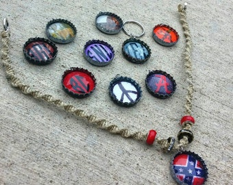 Custom Bottle Cap Hemp Necklace/Made to Order