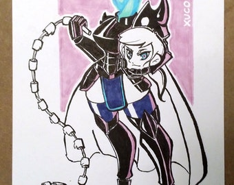 Dullahan Monster Girl 6x9 Original Marker Drawing/Illustration