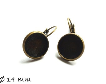 10 PCs high quality earring 14 mm cabochon in bronze