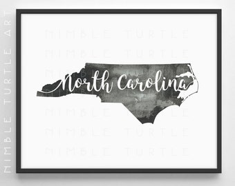 North Carolina State Outline Watercolor -  Printable North Carolina Wall Art  -  Comes with Blank State Outline SVG  -  Gallery Wall Art