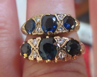 ON SALE Vintage natural blue sapphire & diamond London bridge ring - your choice of two