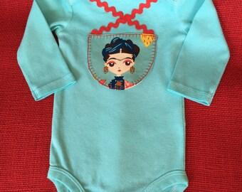 """Frida Kahlo Baby Onesie. Appliqued & Hand dyed. Theme, """"Esperanza"""" (Hope). 3-6 months"""