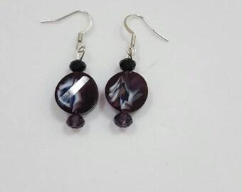 Purple black and gray beaded earrings