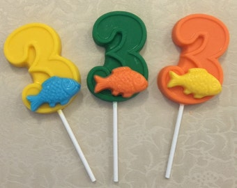 "NUMBER THREE ""FISH"" Chocolate Lollipop - Fishing/Fish/Third Birthday/Fishing Party/Fish Lollipop/Number 3 Lollipop/Party Favor/Bass Fish"