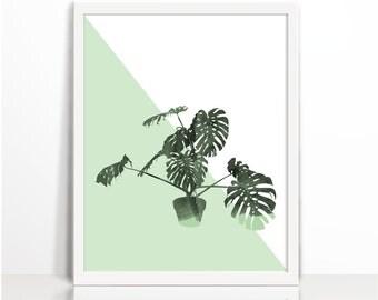 MONSTERA Plant, mint green, Watercolor, Scandinavian, Art Printable, Wall Decor, Home Decor, plant