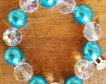 Chunky Version Aqua Blue and Crystal Bracelet