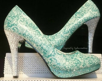 Customised decoupaged shoes with beautiful damask print fabric and crystal covered heel/toes.