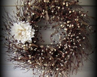 Head Turner!!! Brown Burlap, Cream and Burgundy Pip Berry Wreath with Gorgeous Burlap Flower