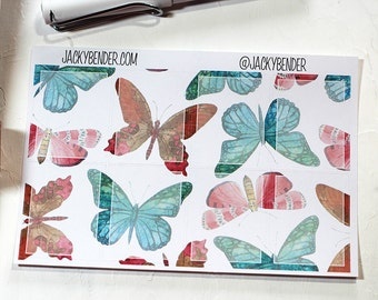 Butterfly Full Boxes Planner Stickers Vertical Erin Condren