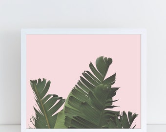 Banana Leaf Print, Plant Wall Art, Pink Palm Tree, Botanical Poster, Monstera Printable, Tropical Wall Decor, Pink, Summer, Instant Download