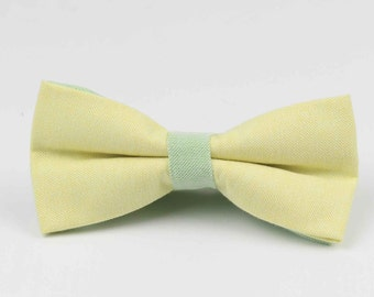 Bowstie - Hand made bowtie - Yellow & Green