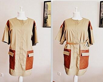 Malene Birger safari dress / military style dress / khaki dress