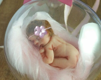 Baby Shower, Christening Gift Baby Girl, Polymer Clay Miniature in a Bauble