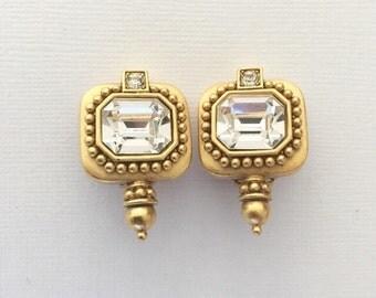 Oscar De La Renta Vintage Crystal Rhinestone Earrings