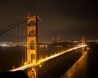 Time Exposure of Golden Gate Bridge at night from Marin Headlands with San Francisco in Background