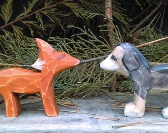 Fox and the Hound (Wood Carving)