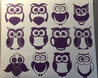 12 Pk Owl Decals, Owl Wall Stickers, Owl Vinyl Wall Decals, Owl Dorm Room Decoration, Owl Wall Decals, Owl Wall Vinyl, Owl Decorations, Owl