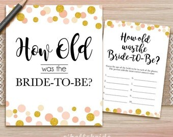 How Old Was The Bride To Be Ivory Bridal Shower Game -  Guess The Bride's Age Game - Printable Gold Bridal Shower Game -  020