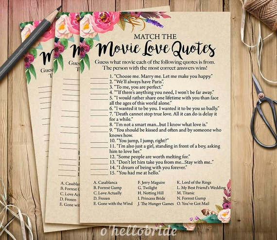 Movie Love Quote Match Game Printable Bridal By Ohellobride