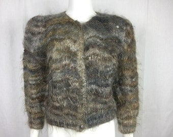 Vtg 70s 80s avant garde shag mohair loop knit woven cardigan sweater metallic copper small