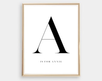Customised Letter Art Print // Initial print // Personalised name / Monochrome / typography // Digital Print / Home Decor // Black and White