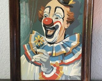 Vintage Kitschy Clown Paint By Numbers, happy clown
