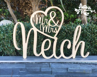 Wooden Wedding Sign | Personalised Surname | Custom Made Sign | Custom Bridal Sign | Rustic Sign | Mr & Mr in heart (Name) MDF Freestanding