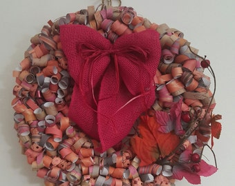 Pink & tan curly paper wreath