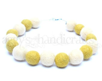 Felt Beads Necklace * Felt Jewellery * Felted Necklace * Mustard-Yellow