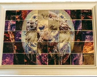 Lion photograph mosaic
