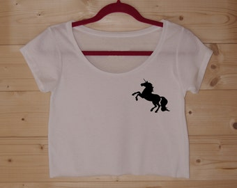 Unicorn Silhouette Crop Tee WHITE or GREY