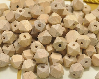 Wholesale 10mm Geometric Faceted Cube Wood Beads 20PC Natural Unfinished Unpainted Polyhedron wooden bead for Crafts Jewelry